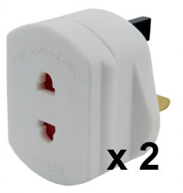 2 x White UK Power Electric Toothbrush Shaver Plug Socket Travel Adaptor Adapter